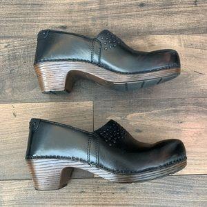 Dansko | Black Leather Studded Clogs 38